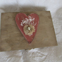 Valentine's Day Stained Aged Woodland Vintage Dusty Rose Heart Divided HIS/HERS Wedding Ring Bearers Box
