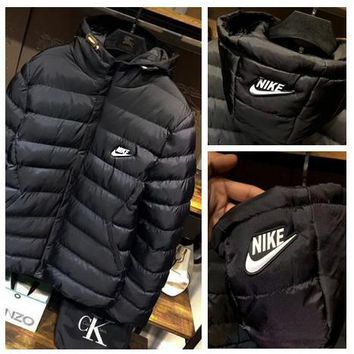 """NIKE"" Men Fashion Long Sleeve Cardigan Bread Down Coat Cotton-padded Clothes Jacket B-ZDL-STPFYF"