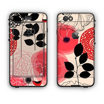 The Pink Nature Layered Pattern V1 Apple iPhone 6 Plus LifeProof Nuud Case Skin Set