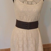 Daisy Fuentes lace dress with brown leather belt - tea dyed SOLD