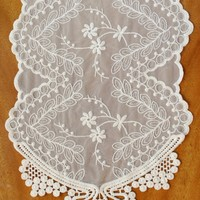 """Lace Table Runner Ivory 12"""" x 74"""""""