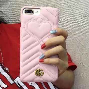 LMFON Gucci Fashion cortical silica gel phone case loving heart iPhone 6 s mobile phone shell iPhone 7 plus shell