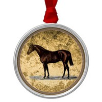 Brown Horse Metal Ornament
