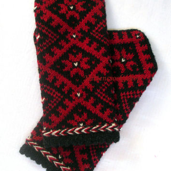 Knitted mittens Winter gloves Wool mittens Patterned mittens Red scandinavian ornament on a black background Ethnic style unisex mittens
