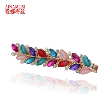 AINAMEISI New Fashion Hairwear Metal Gold Color Leaf Hairpin Hair Combs Hair Sticks Barrettes Gift For Women Girl
