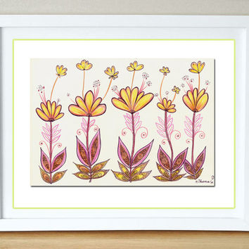 Yellow Pink Orange flowers, Abstract Landscape Original Colorful Drawing, Colored pencils and ink illustration, Home and Wall Art decor