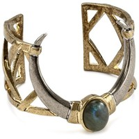 House of Harlow 1960 Horn Cuff Bracelet with Labradorite Stone, 5.3""