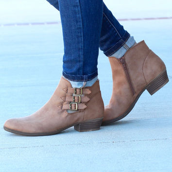 Tikki Multi Buckle Ankle Booties {Dk. Natural}