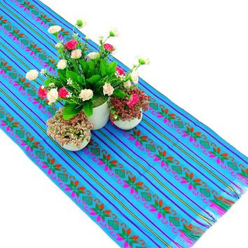 Mexican table runner 14x72 Inches, Fiesta decoration, Tribal Aqua Blue table runner, wedding Decoration 14X72TRC735