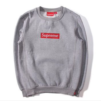 "Embroidery Couple ""Supreme"" Print Sweatshirt Round-neck Pullover Hoodies Grey"