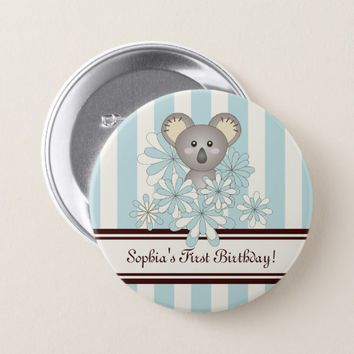 Cute Animal Baby Koala Kids First Birthday Blue Pinback Button