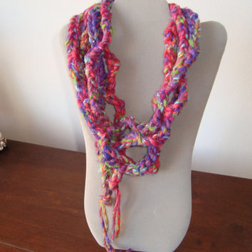 "Beautiful Colors in this ""Beatrice"" Scarflette - Womans Scarf  Yarn Accessory - soft necklace - handmade - pink purple, green lavender, blue"