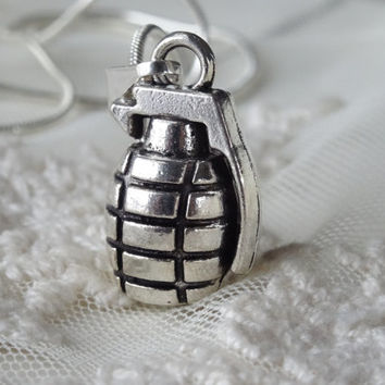 1- Hand Grenade Necklace Silver 3D Grenade Weapon Molotov cocktail Charms Finished Necklace