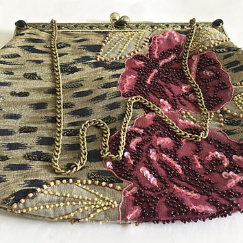Wonderful Vintage CHRISTIANA Embellished Beaded and Sequined Bag Purse with Chain Handle and Embellished and Detailed Frame