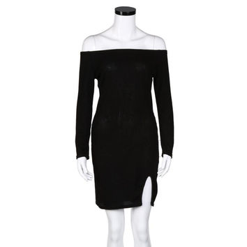 mokingtop Off Shoulder Dress Sexy Black Slash Neck Long Sleeve Dress Warm Knitted Bodycon Dress Robe Femme#A11