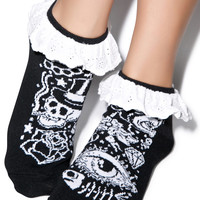 Too Fast Tattoo Eyelet Ankle Sock Black One