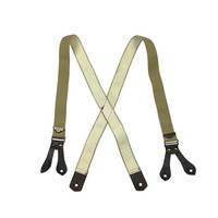 Filson Made in USA Leather Tab Tan Suspenders / Braces Size S/M