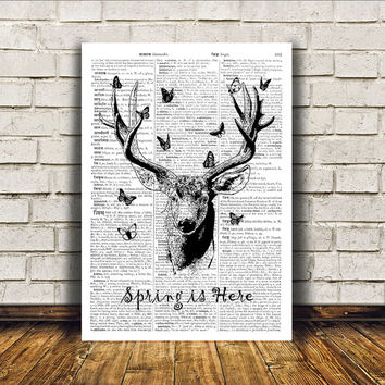 Animal art Wall decor Dictionary print Deer poster RTA197