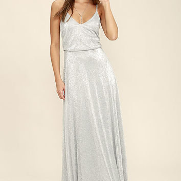 Friend of the Glam Silver Maxi Dress