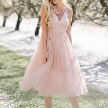 Julianna Blush Tulle Midi Dress