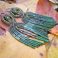 Long micro macrame earrings - Tassel Fringe Green Shades Leaves Unique Beadwork Bohemian Boho
