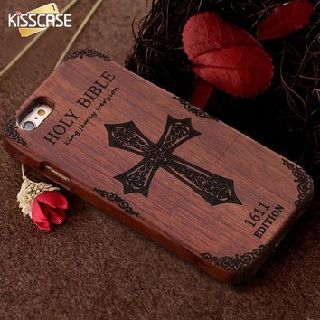 KISSCASE Retro Bamboo Wooden Case For iPhone 6 6s Plus 5 5s SE Hard Wood Phone C