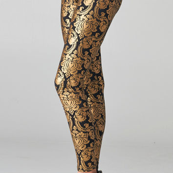 PRETTY GOLD BLACK BAROQUE paisley PRINT LEGGINGS SHOP PUBLIK | PUBLIK | Women's Clothing & Accessories
