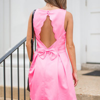 Scallop To Date Dress, Hot Pink