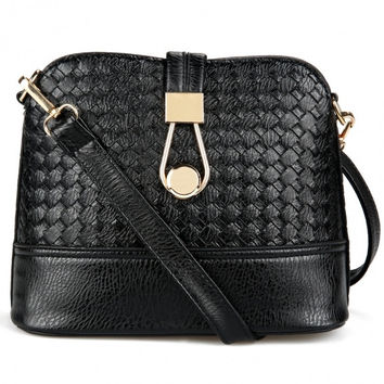 Fashion Korean Women Synthetic Leather Shoulder Small Bag Tote Weave Pattern Clutch Handbag Purse