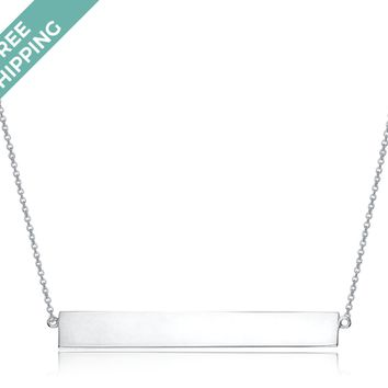 kiz&Co Sterling Silver Single Bar Necklace