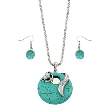 Fox Turquoise Stone Silver Necklace And Earrings Set