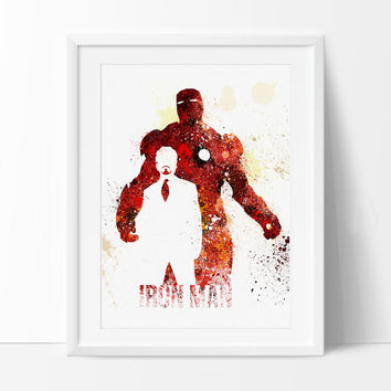 Iron Man Art Print, SuperHero Art, SuperHero Print, ironman Watercolor Print, Birthday, Nursery Gift Art Print Kids Comic Poster - 38