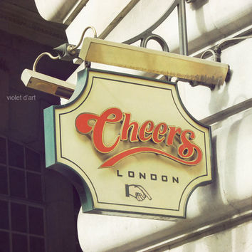 Cheers. Photo Print. 8x8. Original photograph of the Cheers bar sign in London, England travel photo