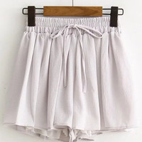 Grey Drawstring Chiffon Shorts -SheIn(Sheinside)