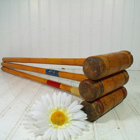 Retro Wooden BackYard Croquet Equipment Ensemble - Vintage Well Worn OutDoor Sports Pieces- Repurpose Gameroom Decor - Chippy Wood Mallets
