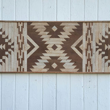 Reclaimed Wood Wall Art-Kilim Style Design-Twin Headboard-Wall decor-Diamond Decoration-Mosaic Art-Lath Art-Rustic