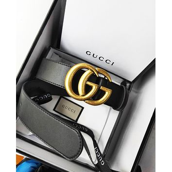 GUCCI Stylish Women Men Chic Double G Pearl Smooth Buckle Leather Belt I/A