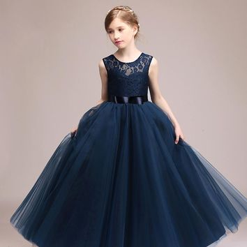 Kids Girls Wedding Flower Girl Dress Princess Party Pageant Formal Dress Sleeveless Long Dress for Teenager Girl 5-14 Years Wear