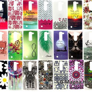 Cartoon Animal Graffiti Owl Elephant Flowers Feathers Soft TPU Back Covers Phone Case