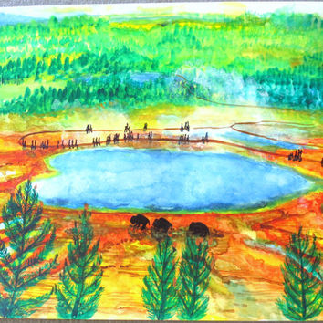 Grand Prismatic Spring Bison Yellowstone National Park Watercolor Painting, Yellowstone Bison Watercolor Poster Print