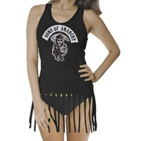 Sons of Anarchy Reaper Fringe Juniors Black Tank - Sons of Anarchy - | TV Store Online
