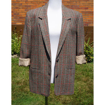Vintage Boyfriend Blazer, Houndstooth Plaid, Wool, Lined, 80s, New Wave, Oversize, Shoulder Pads, Preppy, Harrington Square