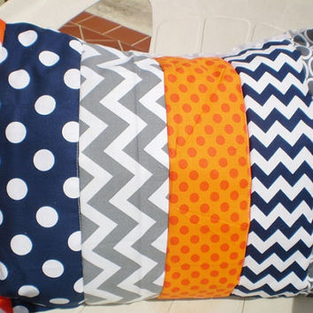 Throw pillow cover,Baby boy or girl Nursery pillow cover 12 x 16,pillow sham,nautical,child room pillow cover,chevron,dots,navygrey,orange