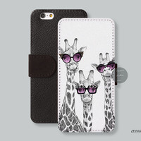 Christmas gift, Card slot Wallet iPhone 6 case The giraffe iPhone 6 plus case, Leather Wallet - iPhone 5s case, iPhone 5c case - C00033