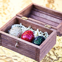 Handmade Dragon Eggs in Wooden Chest -- Game of Thrones inspired (Set of 3) Eggs in Chest