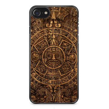 Aztec Mayan Calendar Wood Pattern iPhone 7 Case