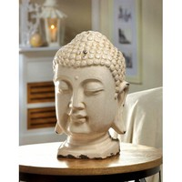 Crackle Glazed Ceramic White Buddha Head Statue