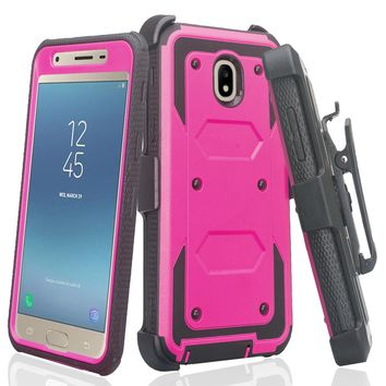 Samsung Galaxy J3 2018, J3 V 3rd Gen, J3 Orbit, Express Prime 3, SM-J337A Case, J3 Star, J3 Achieve, J3 Aura, Amp Prime 3, Triple Protection 3-1 w/ Built in Screen Protector Heavy Duty Holster Shell Combo Case - Purple