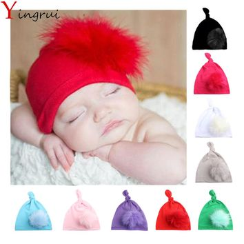 New Fashion Winter Cute Knot Girls Beanies Simple Lovy Fluffy Pom Pom Indian Turban Autumn Solid Color Kid Children Hat Ball Cap