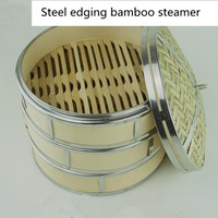 Bamboo Cookware 1 Pcs Bamboo Steamer(With Lid) Stainless Steel Steamer Kitchen Cookware For Cooking Fish Rise Pasta Dim Sum Bun